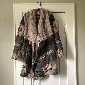 Blanket coat with Sherpa hood